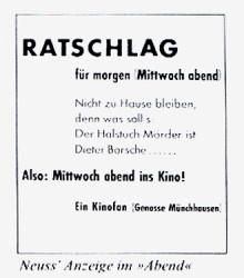 Mit dieser Zeitungsanzeige verriet der Kabarettist Wolfgang Neuss 1962 den Mörder