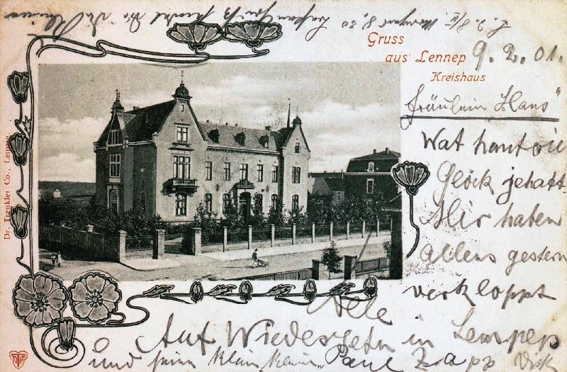 Kreishaus in Lennep um 1900. Das Motiv zierte lange Zeit viele Ansichtskarten. Lenneparchiv Schmidt