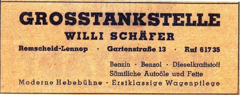 Die Grosstankstelle des Nachkriegsbetreibers Willi Schäfer in einer zeitgenössischen Werbeanzeige aus dem Jahre 1952.