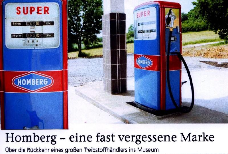 Homberg-Tankstellen und ihr Zubehör interessieren heute nur noch historisch tätige Tankstellenfreunde.