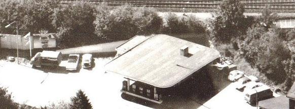 Die Tankstelle Gartenstraße am 14. 8. 1973 aus der Luft -Ausschnitt eines Fotos aus dem Remscheider Stadtarchiv.