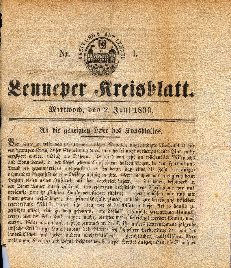 Das erste Lenneper Kreisblatt vom 2. Juni 1830. Neben ersten Nachrichten äußerten sich hier Redakteur, Drucker und Landrat zu Sinn und Zweck der neuen Publikation