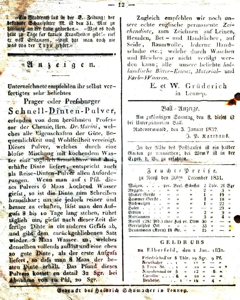 Der Ausschnitt zeigt die wohl erste Kreisblattanzeige der Lenneper Chemie- und Lackfabrik E. und W. Grüderich aus dem Jahr 1832