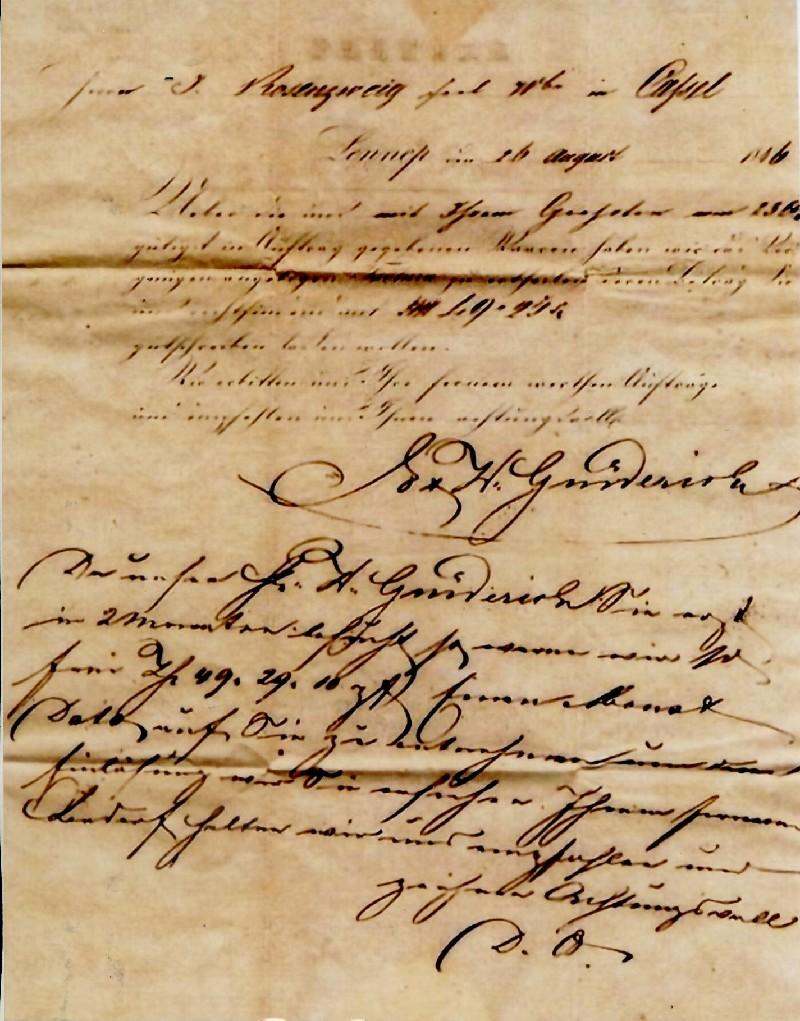 Original eines Rechnungsbriefes der Lenneper Firma E. und W. Grüderich an einen Adressaten in Cassel aus dem Jahre 1846