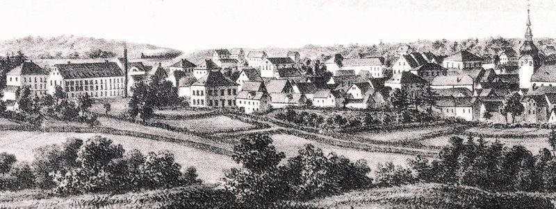 Die Bauedahlsche Fabrik mit neuem Wohnhaus, links im Bild. Detail aus -Lennep von der Süd-Ostseite - Lith. v. H. Schütt, Druck von A. Henry in Bonn, um 1860. Lenneparchiv.