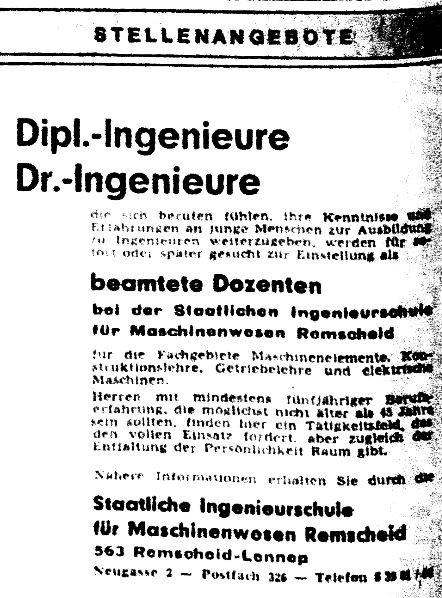 Zeitungsanzeige 28. 12. 1967 in Die WELT