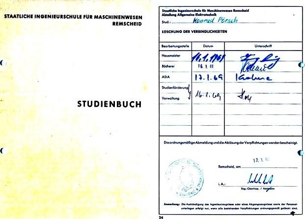 Abgangsdokumentation im Studienbuch. Quelle und Repro privat